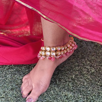 Pink Gold Tone Kundan Inspired Anklets
