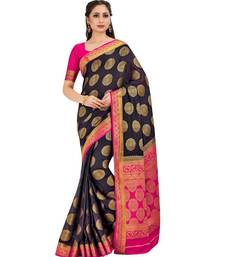 Black Woven Crepe Saree With Blouse