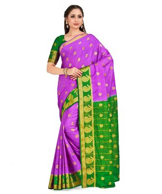 Purple Woven Crepe Saree With Blouse