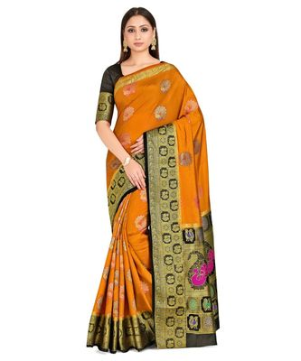 Rust Woven Art Silk Saree With Blouse