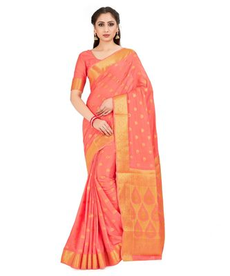 Orange Woven Crepe Saree With Blouse