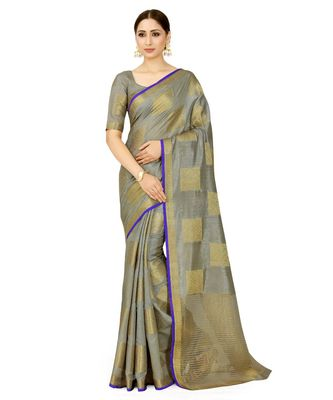 grey woven tussar silk saree with blouse