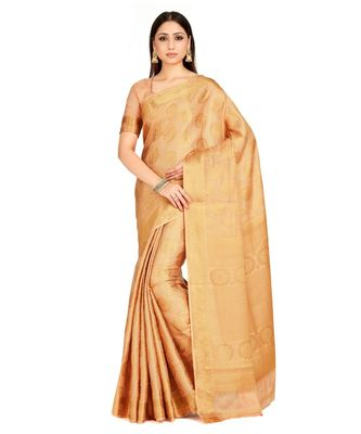 Beige Woven Art Silk Saree With Blouse