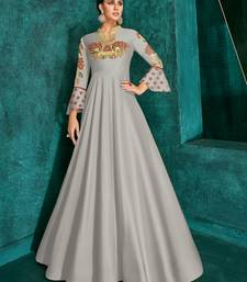 Light Grey Silk Heavy Thread Embroidered on Neck, Sleeve Gown