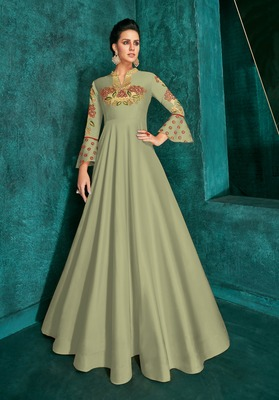 Olive Silk Heavy Thread Embroidered on Neck, Sleeve Gown