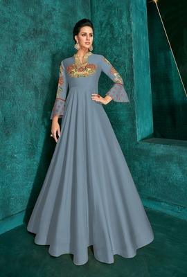 Sapphire Silk Heavy Thread Embroidered on Neck, Sleeve Gown