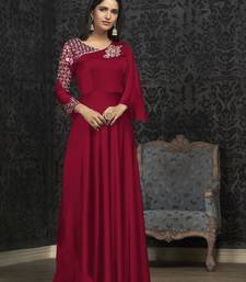 Red Glowing Georgette Heavy Embroidery on Neck and Sleeve  Gown