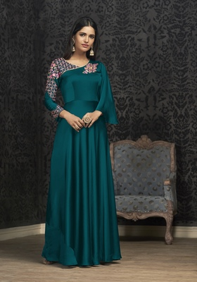 Rama Glowing Georgette Heavy Embroidery on Neck and Sleeve  Gown