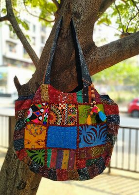 Multicolored Real Mirror Worked Banjara Bag With Hanging Pompom Tassels Pattern 1