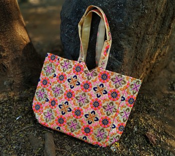 Cream Colored Based Flower Pattern Embroidered Worked Banjara Tote Bag With Non Adjustable Dori