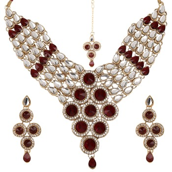 Red Maroon necklace-sets Traditional Kundan Jewellery Set with Dangler Earrings and Maang Teeka