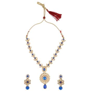 Blue necklace-sets Traditional Kundan Jewellery Set with Chandbali Earrings