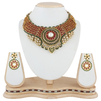 Red Green Stone necklace-sets   Traditional Jewellery Set with Chandbali Earrings