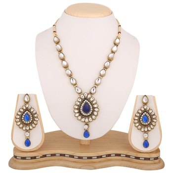 Blue necklace-sets Traditional Kundan Jewellery Set with Dangle Earrings