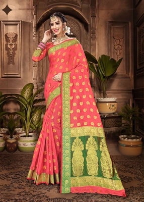 Peach woven chanderi saree with blouse