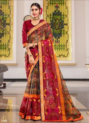 Rani pink embroidered cotton silk saree with blouse