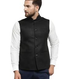Solid Designer Black Nehru Jacket For Men