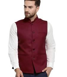 Solid Designer Maroon Nehru Jacket For Men