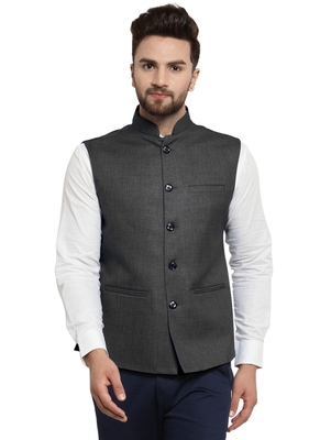 Solid Designer Grey Nehru Jacket For Men