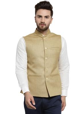 Solid Designer Beige Nehru Jacket For Men