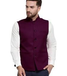 Solid Designer Purple  Nehru Jacket For Men