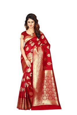 Red Banarasi Woven Silk saree with Blouse Piece.
