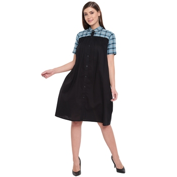 Black plain cotton maxi-dresses