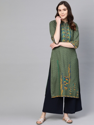 Olive printed liva kurtas-and-kurtis