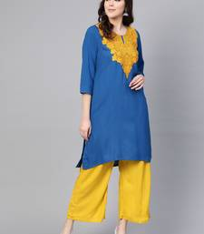 Royal-blue embroidered liva kurtas-and-kurtis