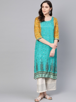 Sky-blue printed liva kurtas-and-kurtis
