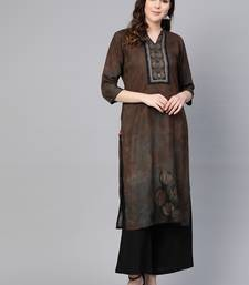 Coffee printed liva kurtas-and-kurtis