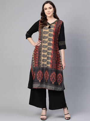 Black printed viscose kurtas-and-kurtis