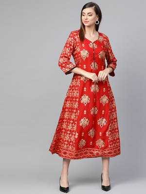 Red printed liva kurtas-and-kurtis