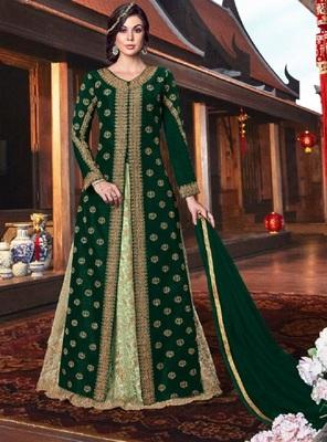 Green embroidered tussar silk salwar