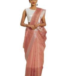 Peach printed faux kora saree with blouse