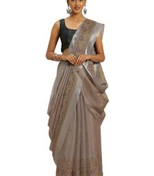 Beige printed faux kora saree with blouse