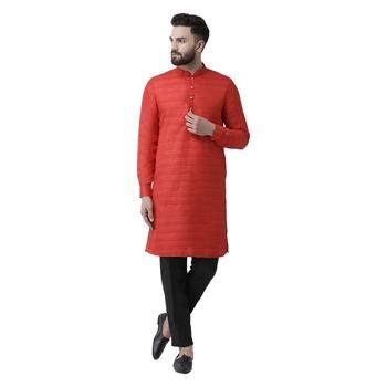 Red Plain Pure Silk Men Kurtas