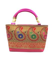 Buy Raw Silk Handbag with Traditional Mango Border (Pink) handbag online