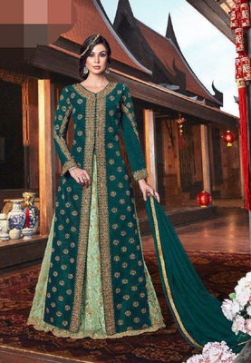 Green embroidered tussar silk salwar