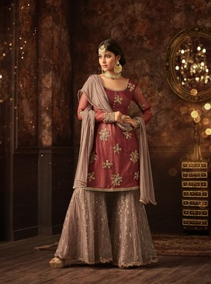 LGHT BROWN EMBROIDERED SOFT NET PLAZO SALWAR SUIT SEMI STITCHED