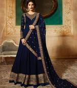 Buy BLUE EMBROIDERED FAUX GEORGETTE SALWAR SEMI STITCHED