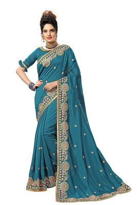 Green embroidered satin saree with blouse