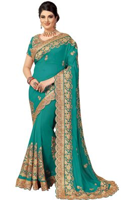 Green embroidered silk saree with blouse