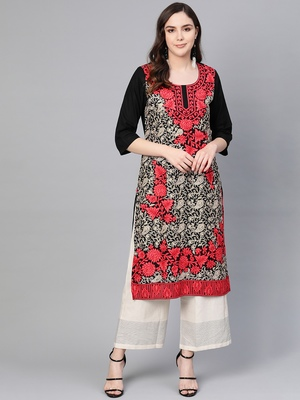 Black embroidered liva kurtas-and-kurtis