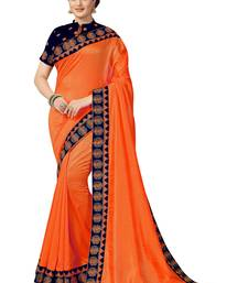 Orange embroidered satin saree with blouse