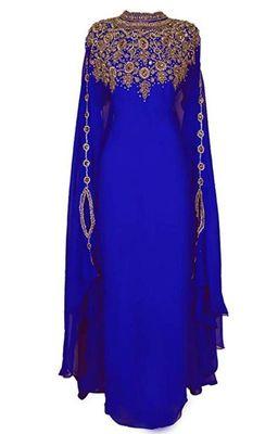 ROYAL BLUE Zari Stone Work Georgette Islamic Style Beads Embedded PartyWear Kaftan