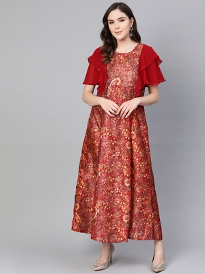 Wine printed viscose long-kurtis