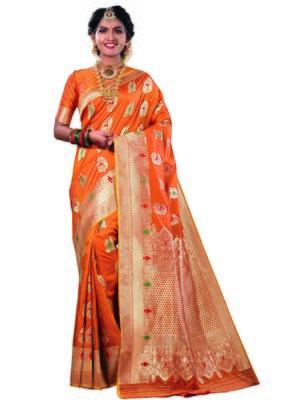 Orange woven satin saree with blouse