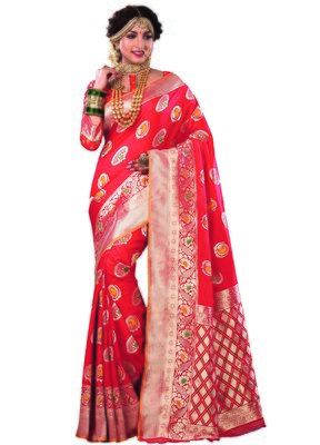 Red woven satin saree with blouse