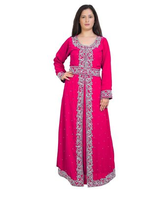 MOROCCAN BRIDAL  ISLAMIC ARABIC HAND ZARI WORK GEORGETTE PLUS SIZE ABAYA DRESS